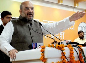 BJP president Amit Shah addresses at the newly inaugurated BJP office in Lucknow, on Feb 25, 2016. (Photo: IANS)