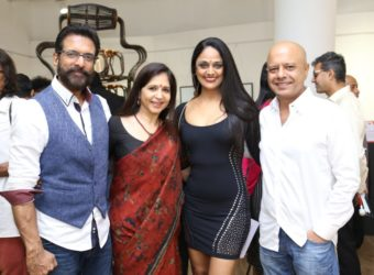 Javed Jaffrey, Mitali Kakkar, Sunita Rao and Naved Jaffrey at Rise Design Art exhibition