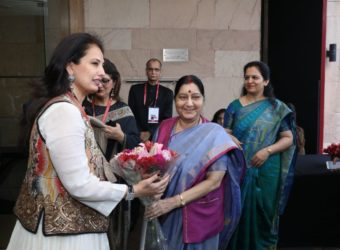 Ritu Beri Fashion Designer with by Sushma Swaraj, Minister of External Affairs of India