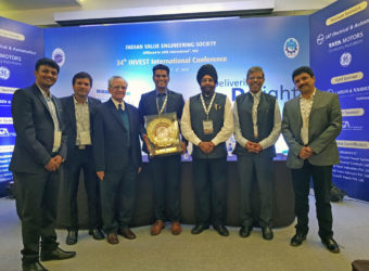 Team Tata Technologies poses with the KSRM Sastry Award along with members of the Managing Committee of the 34th Value Engineering International Conference