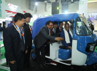 Union Minister Anant Geete unveils e-rickshaw from Goenka Electric Motor Vehicles during the 8th EV Expo 2018 at Pragati Maidan in New Delhi on Friday_2
