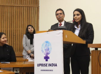 Nishtha Dudeja Miss Deaf Asia addressing the audience at Women Business Conference organised by Uprise India.