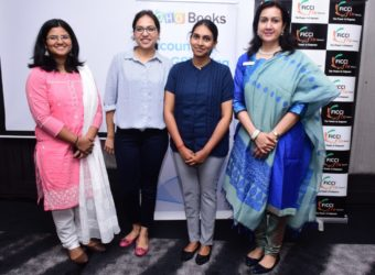 Reshma Roy (Zoho), Lavanya Mohan (CA), Kavya Sabareesh (Entrepreneur and Zoho Books user) and Anupama Shivaraman (Chairperson, FICCI Flo Chennai Chapter) at the event.