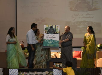 Ruskin Bond's book- Words From My Window getting launched at The Shriram Millennium School, Noida