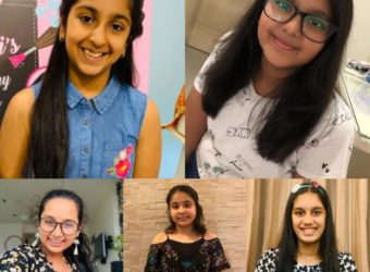 Top left - Yashvi Lodha, Right - Megha Bharadia. Bottom left - Rahhya Ostwal, Middle - Trisha Jhamb, Right - Krisha Bang,